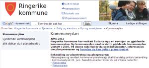 Websiden til Ringerike Kommune